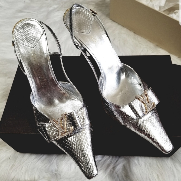 Louis Vuitton Snake Silver Slingback